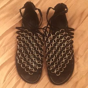Black Gladiator Sandals with Silver detail Size 9